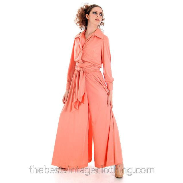 Vintage Jeremy Alan Phillips Palazzo Pants Outfit Peach Polyester Knit  1970s Small- Med - The Best Vintage Clothing  - 1