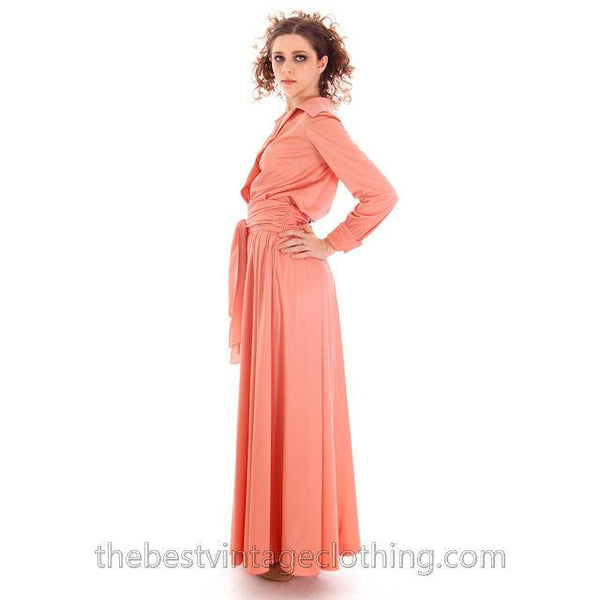 Vintage Jeremy Alan Phillips Palazzo Pants Outfit Peach Polyester Knit  1970s Small- Med - The Best Vintage Clothing  - 4