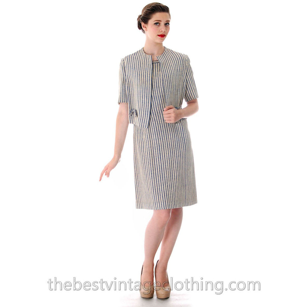 Vintage Linen Sheath Dress/Jacket 1950s 'S Caroline Dubac 36-30-38 FRENCH DESIGNER - The Best Vintage Clothing  - 1