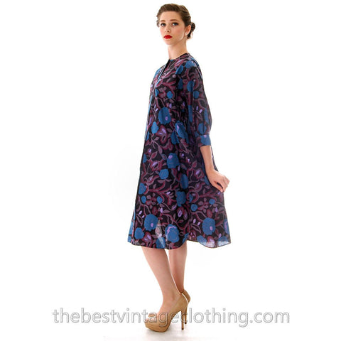 Vintage Marimekko Cotton Printed A line Dress XS Blues Purples Floral