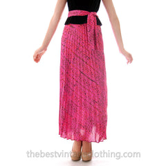 Vintage Maxi Skirt Pink/Orange Silk Batik  Zinat Sara 1970S 24 Waist/ MATCHING SCARF/BELT - The Best Vintage Clothing  - 2
