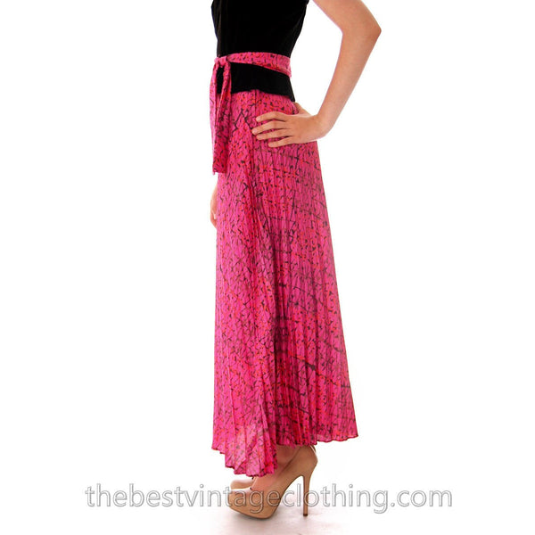 Vintage Maxi Skirt Pink/Orange Silk Batik  Zinat Sara 1970S 24 Waist/ MATCHING SCARF/BELT - The Best Vintage Clothing  - 3