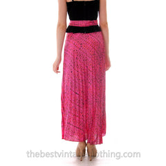 Vintage Maxi Skirt Pink/Orange Silk Batik  Zinat Sara 1970S 24 Waist/ MATCHING SCARF/BELT - The Best Vintage Clothing  - 4