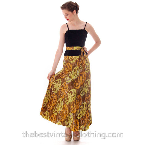 Vintage Lime/ Brown Print  Silk Maxi Skirt Pleated  Batik Zinat Sara 1970S Sz 5/Matching Scarf/Belt