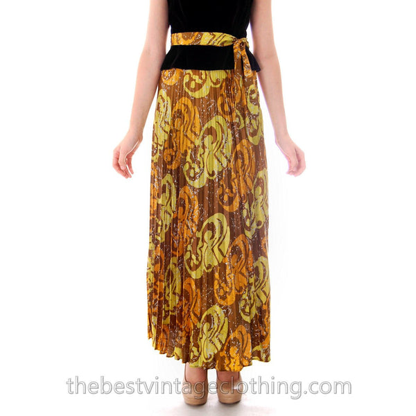 Vintage Lime/ Brown Print  Silk Maxi Skirt Pleated  Batik Zinat Sara 1970S Sz 5/Matching Scarf/Belt - The Best Vintage Clothing  - 2
