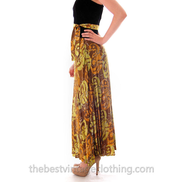 Vintage Lime/ Brown Print  Silk Maxi Skirt Pleated  Batik Zinat Sara 1970S Sz 5/Matching Scarf/Belt - The Best Vintage Clothing  - 3