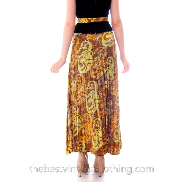 Vintage Lime/ Brown Print  Silk Maxi Skirt Pleated  Batik Zinat Sara 1970S Sz 5/Matching Scarf/Belt - The Best Vintage Clothing  - 4