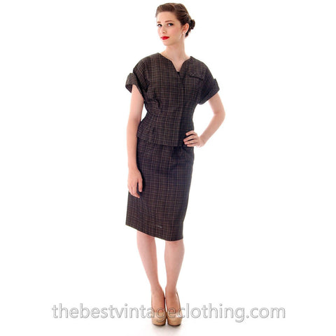 Vintage  1950'S Silk Suit Short Sleeves Plaid Blums-Vogue Unique 38-25-36 High Quality