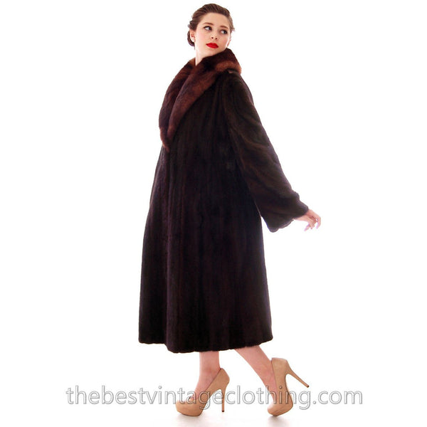 Fabulous Blackglama Black Ranch Mink Full Length Coat Sable Collar Large- Free Matching Hat - The Best Vintage Clothing  - 3