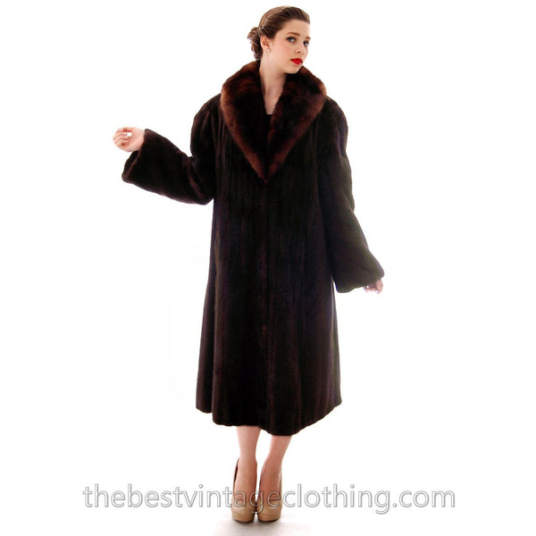 Fabulous Blackglama Black Ranch Mink Full Length Coat Sable Collar Large- Free Matching Hat - The Best Vintage Clothing  - 4