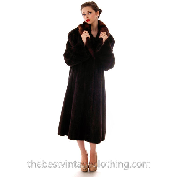 Fabulous Blackglama Black Ranch Mink Full Length Coat Sable Collar Large- Free Matching Hat - The Best Vintage Clothing  - 5