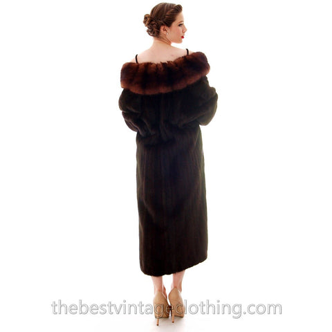 Fabulous Blackglama Black Ranch Mink Full Length Coat Sable Collar Large- Free Matching Hat
