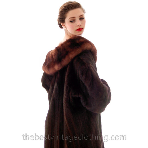 Fabulous Blackglama Black Ranch Mink Full Length Coat Sable Collar Large- Free Matching Hat - The Best Vintage Clothing  - 6