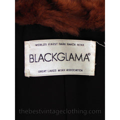Fabulous Blackglama Black Ranch Mink Full Length Coat Sable Collar Large- Free Matching Hat - The Best Vintage Clothing  - 8