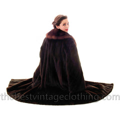 Fabulous Blackglama Black Ranch Mink Full Length Coat Sable Collar Large- Free Matching Hat - The Best Vintage Clothing  - 2