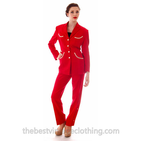 RARE VTG Rodeo Queen Gross Original 2 PC Pant Suit 1950s Lipstick Red Wool White Trim S