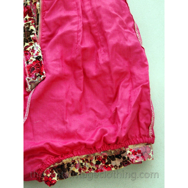 Vintage Bathing Suit Sunsuit Swim Suit Velvet Flocked 1950s Adorable Pinks Floral - The Best Vintage Clothing  - 7