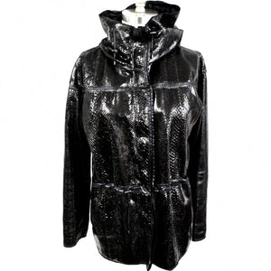 Lanvin Snakeskin Exotic Leather Hooded Parka Coat