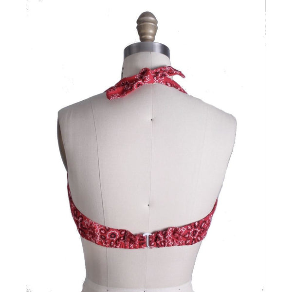 Vintage Halter Top Red Bandana Womens S/M 1970s