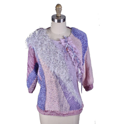 Vintage sweater by Marijke Benedict for STIJFSELKISSIE Pink Purple Embellished 1980s M