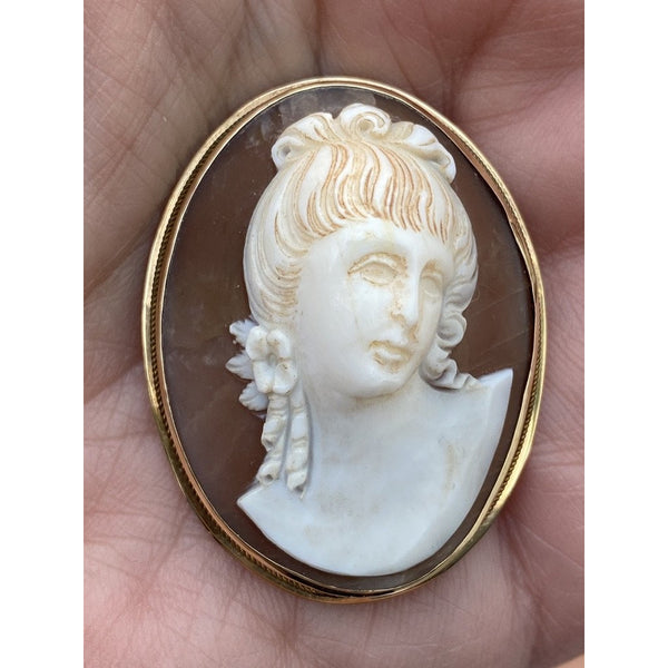 Rare Antique 19th Century Victorian Sardonyx  Cameo Brooch & Earrings 14K Gold