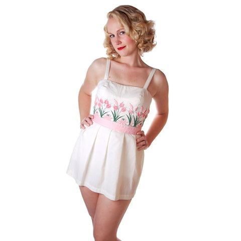 Vintage Swimsuit Tina Leser Pink Pussywillows 1 Piece Skirted 1950S 10