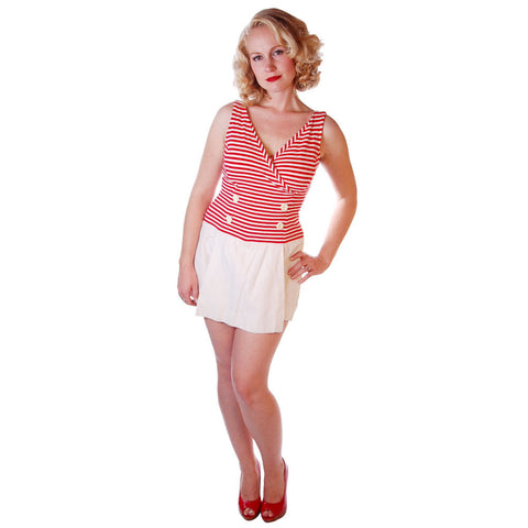 Vintage Sun/Swim Suit Red/White Skirted 1950S 36-27-38 Adjustable