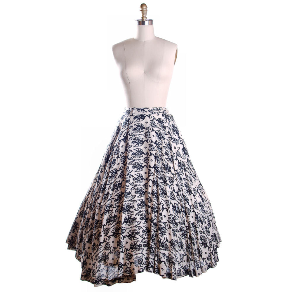 Vintage Circle Skirt Black & White Dragon Print 1950'S 26 Waist Daisy's of Miami - The Best Vintage Clothing  - 1