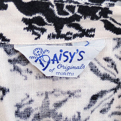 Vintage Circle Skirt Black & White Dragon Print 1950'S 26 Waist Daisy's of Miami - The Best Vintage Clothing  - 3