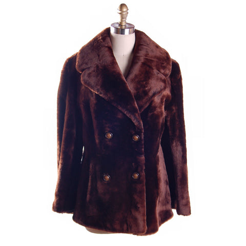 Vintage Brown Mouton Short Dbl Breasted  Coat 1970s  Modern Size 14