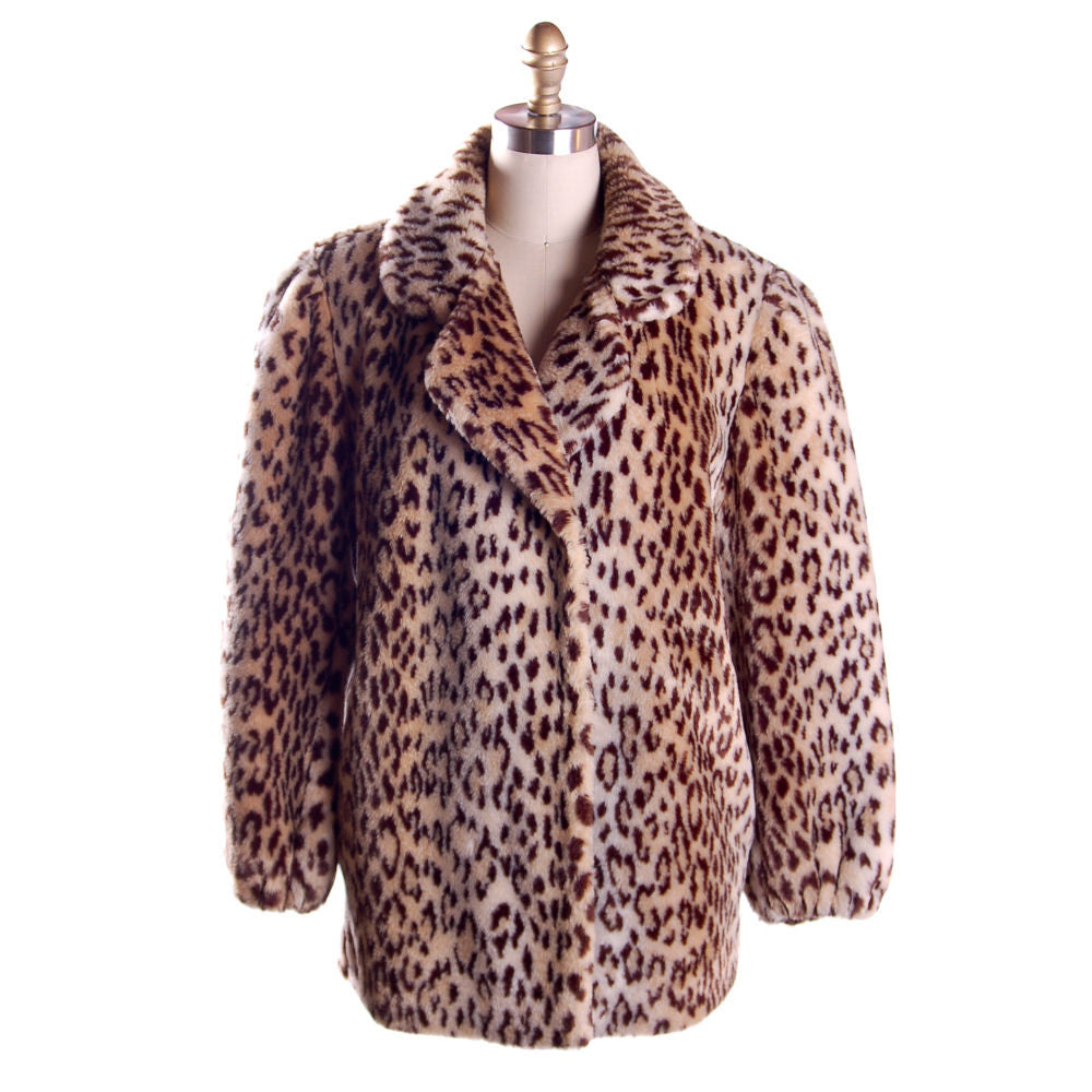 Vintage Faux Leopard Print Plush Short Coat 1980S - The Best Vintage Clothing  - 1