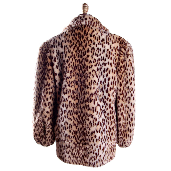 Vintage Faux Leopard Print Plush Short Coat 1980S - The Best Vintage Clothing  - 3