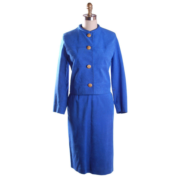 Vintage Royal Blue Ultra Suede Suit Count Romi 1980S Small - The Best Vintage Clothing  - 1