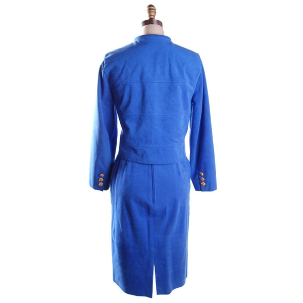 Vintage Royal Blue Ultra Suede Suit Count Romi 1980S Small - The Best Vintage Clothing  - 2
