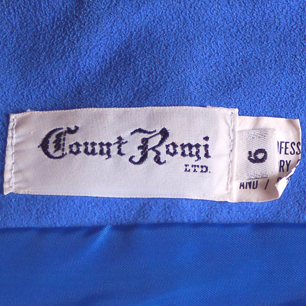 Vintage Royal Blue Ultra Suede Suit Count Romi 1980S Small - The Best Vintage Clothing  - 4