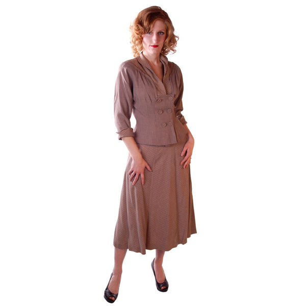 Vintage Mocha Wool 2-Tone Suit 1940S Marie Phillips 34-24-Free - The Best Vintage Clothing  - 1