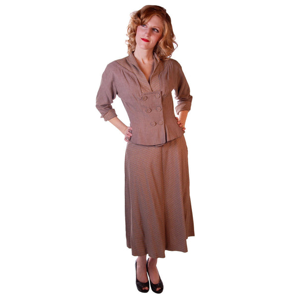 Vintage Mocha Wool 2-Tone Suit 1940S Marie Phillips 34-24-Free - The Best Vintage Clothing  - 2