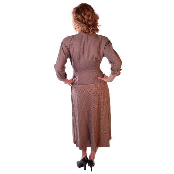Vintage Mocha Wool 2-Tone Suit 1940S Marie Phillips 34-24-Free - The Best Vintage Clothing  - 4