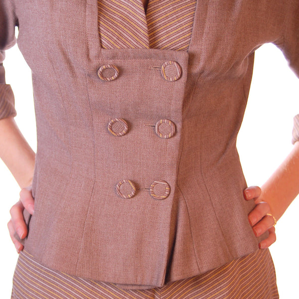 Vintage Mocha Wool 2-Tone Suit 1940S Marie Phillips 34-24-Free - The Best Vintage Clothing  - 6