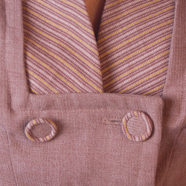 Vintage Mocha Wool 2-Tone Suit 1940S Marie Phillips 34-24-Free - The Best Vintage Clothing  - 7