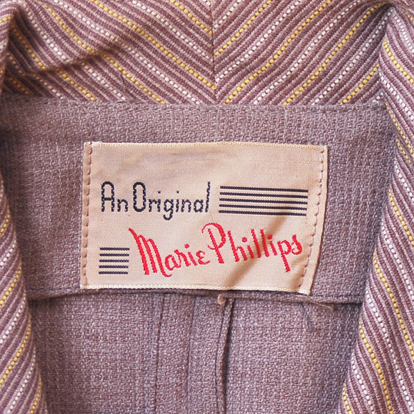 Vintage Mocha Wool 2-Tone Suit 1940S Marie Phillips 34-24-Free - The Best Vintage Clothing  - 8