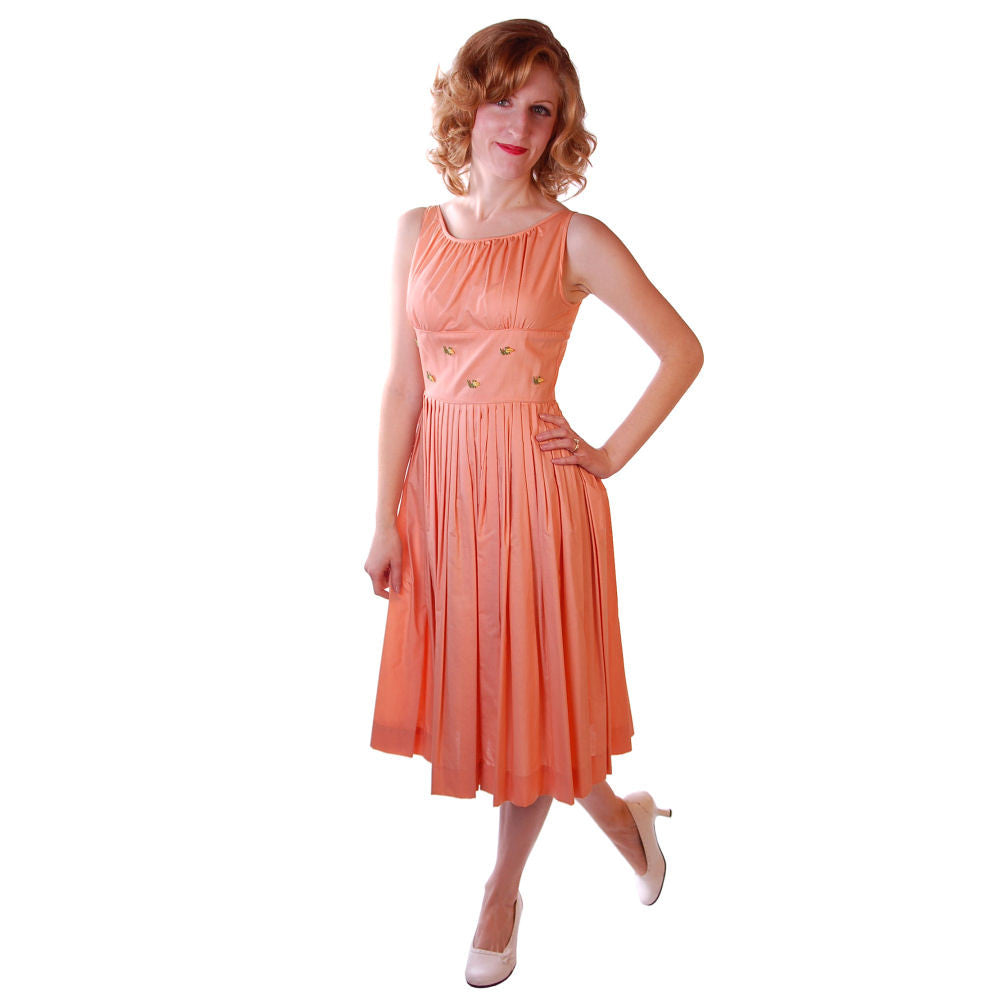 Vintage Peach Cotton Day Dress NWOT 1950S 32-26-Free Peggy Paige