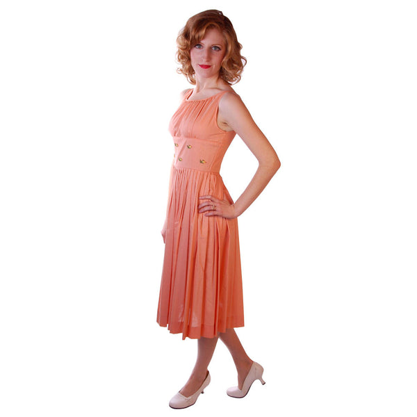 Vintage Peach Cotton Day Dress NWOT 1950S 32-26-Free Peggy Paige - The Best Vintage Clothing  - 2
