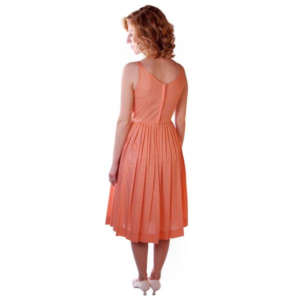 Vintage Peach Cotton Day Dress NWOT 1950S 32-26-Free Peggy Paige - The Best Vintage Clothing  - 3