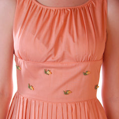 Vintage Peach Cotton Day Dress NWOT 1950S 32-26-Free Peggy Paige - The Best Vintage Clothing  - 4