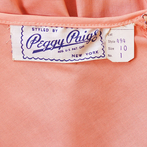 Vintage Peach Cotton Day Dress NWOT 1950S 32-26-Free Peggy Paige - The Best Vintage Clothing  - 5