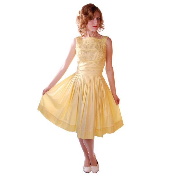 Vintage Yellow  Cotton Day Dress NWOT 1950S 32-24-Free Wendy Woods - The Best Vintage Clothing  - 1
