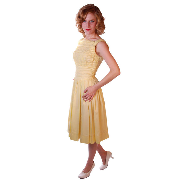 Vintage Yellow  Cotton Day Dress NWOT 1950S 32-24-Free Wendy Woods - The Best Vintage Clothing  - 2