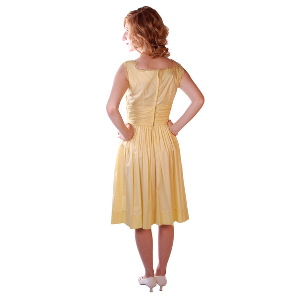 Vintage Yellow  Cotton Day Dress NWOT 1950S 32-24-Free Wendy Woods - The Best Vintage Clothing  - 3