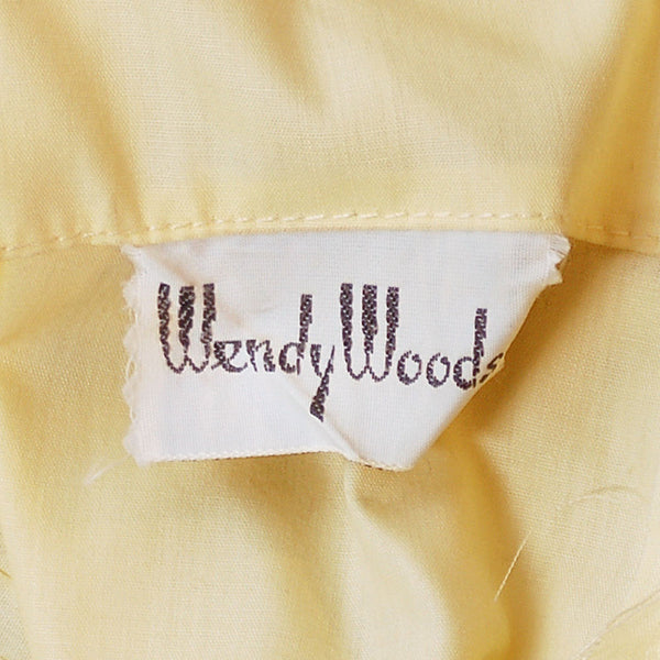 Vintage Yellow  Cotton Day Dress NWOT 1950S 32-24-Free Wendy Woods - The Best Vintage Clothing  - 4